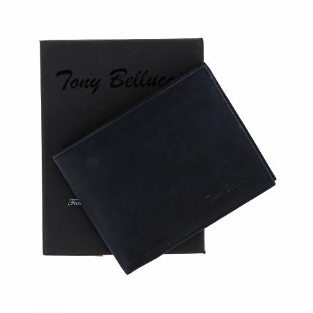 Portofel slim din piele bleumarin Tony Bellucci pentru barbati, model T138-03 [0]