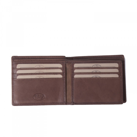 Portofel The Chesterfield Brand, cu protectie anti scanare RFID, din piele naturala, Ralph, Maro inchis [2]