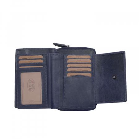 Portofel The Chesterfield Brand, cu protectie anti scanare RFID, din piele naturala moale, Ascot, Bleumarin [3]
