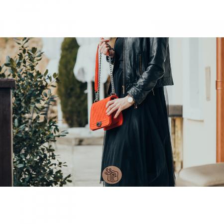 Poseta de dama, tip Chanel din piele intoarsa, matlasat rosu [1]