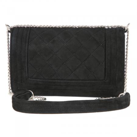 Poseta tip Chanel din piele intoarsa, matlasat negru [3]