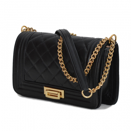 Poseta tip Chanel din piele matlasata neagra [0]