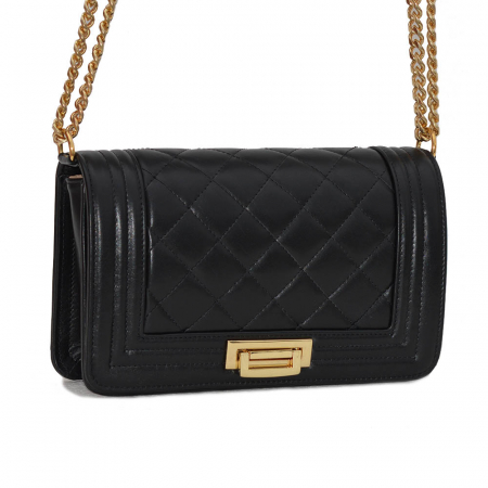 Poseta tip Chanel din piele matlasata neagra [2]