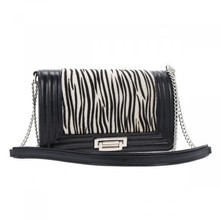 Poseta tip Chanel din piele naturala neagra si model zebra [4]