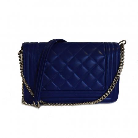 Poseta tip Chanel piele albastru imperial [1]