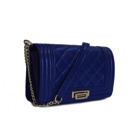Poseta tip Chanel piele albastru imperial [0]