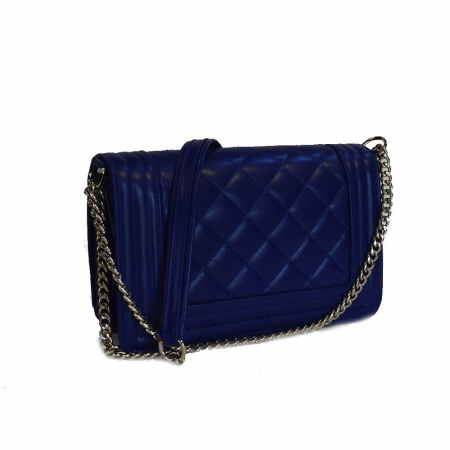 Poseta tip Chanel piele albastru imperial [2]