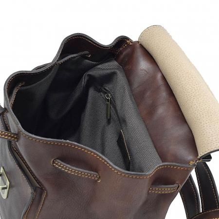 Rucsac din piele naturala vachetta maro cu snur si capac model 4429 [3]