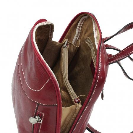 Rucsac din piele naturala vachetta rosu model 4430 [3]