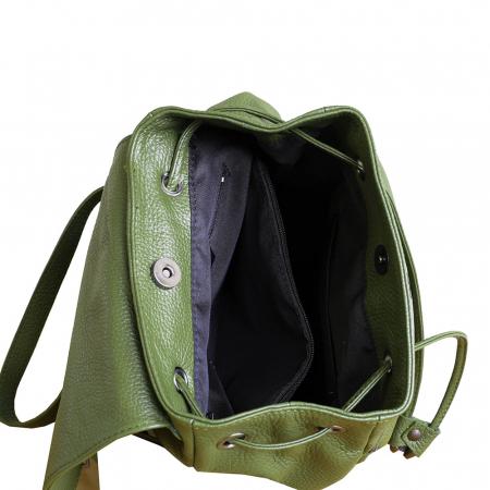 Rucsac din piele verde model R100 [2]