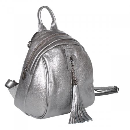 Rucsac/geanta de dama din piele naturala argintiu 175 [0]