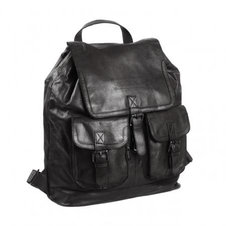 Rucsac pentru laptop de 14 inch, The Chesterfield Brand, din piele naturala, model Dani, Negru [0]