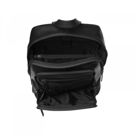 Rucsac pentru laptop de 14 inch, The Chesterfield Brand, din piele neagra, model James [1]