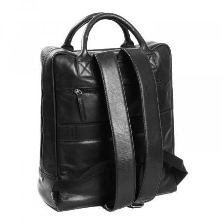 Rucsac pentru laptop de 14 inch, The Chesterfield Brand, din piele, model Yonas, Negru [5]