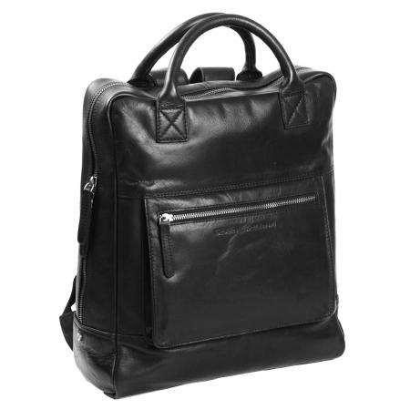 Rucsac pentru laptop de 14 inch, The Chesterfield Brand, din piele, model Yonas, Negru [0]