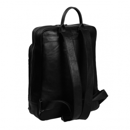 Rucsac pentru laptop de 15,4 inch si tableta de 10,5 inch, The Chesterfield Brand, din piele, model Hayden, Negru [5]