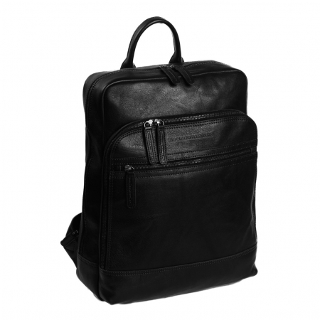 Rucsac pentru laptop de 15,4 inch si tableta de 10,5 inch, The Chesterfield Brand, din piele, model Hayden, Negru [0]