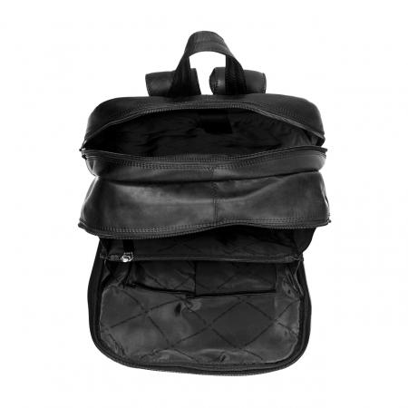 Rucsac pentru laptop de 15.4 inch, The Chesterfield Brand, din piele, model Dex, Negru [1]