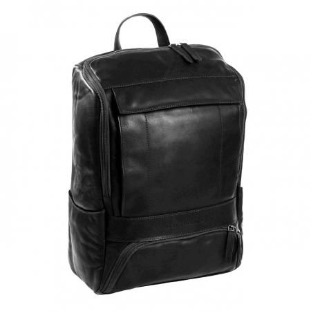 Rucsac pentru laptop de 15,4 inch, The Chesterfield Brand, din piele neagra model Rich0