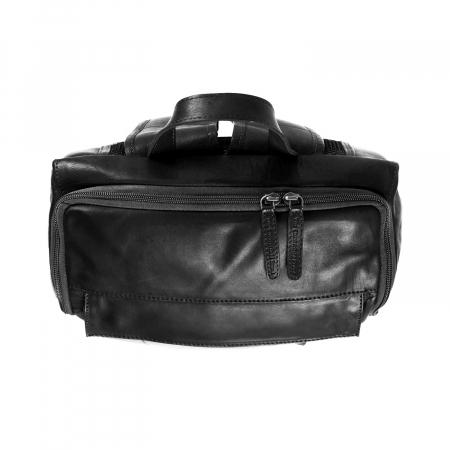 Rucsac pentru laptop de 15,4 inch, The Chesterfield Brand, din piele neagra model Rich2