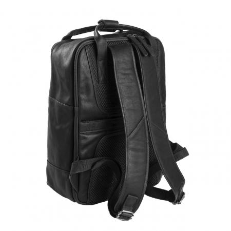 Rucsac pentru tableta si laptop de 14 inch, The Chesterfield Brand, din piele naturala, model Belford, Negru [5]