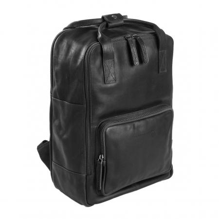 Rucsac pentru tableta si laptop de 14 inch, The Chesterfield Brand, din piele naturala, model Belford, Negru [0]