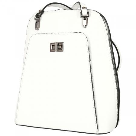 Rucsac si geanta 2 in 1 din piele naturala alba model 4115 [4]