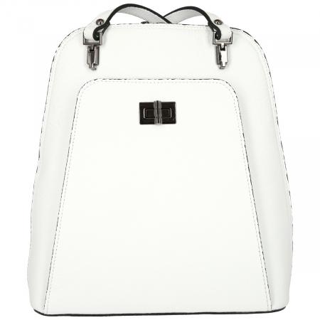 Rucsac si geanta 2 in 1 din piele naturala alba model 4115 [1]