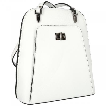 Rucsac si geanta 2 in 1 din piele naturala alba model 4115 [0]