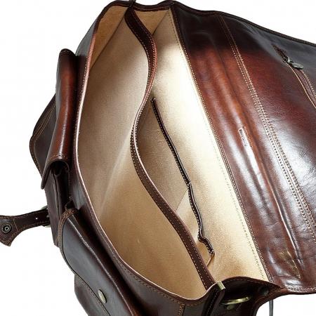 Servieta pentru barbati din piele vachetta maro coniac, model casual 4010 [3]