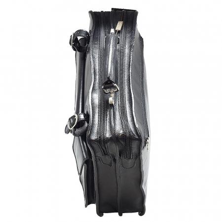 Servieta unisex cu doua fermoare din piele vachetta neagra 4507 [2]