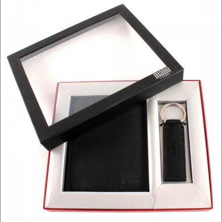 Set cadou pentru barbati cu portofel si breloc pentru chei, din piele, Mano, model M19030 Negru [0]