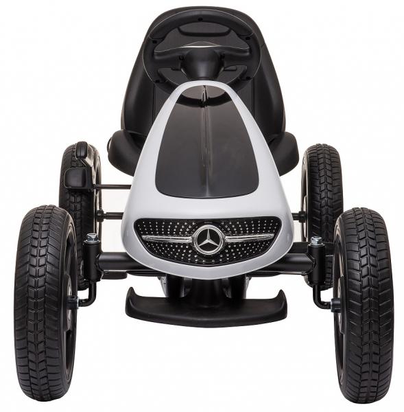 Kart Mercedes cu pedale pentru copii, roti cauciuc Eva, alb [5]