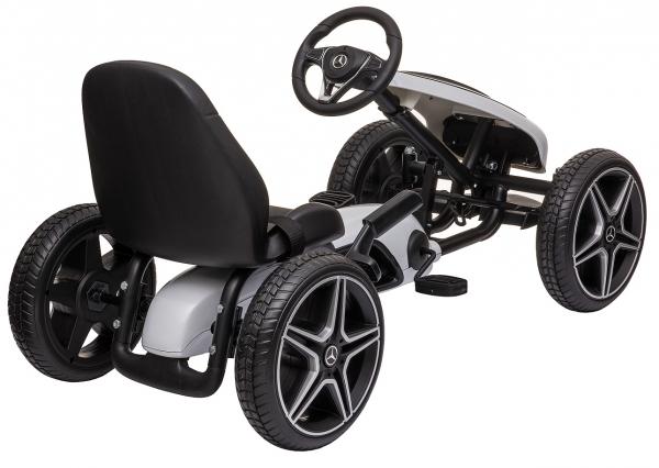 Kart Mercedes cu pedale pentru copii, roti cauciuc Eva, alb [1]