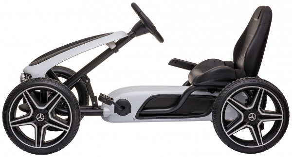 Kart Mercedes cu pedale pentru copii, roti cauciuc Eva, alb [2]