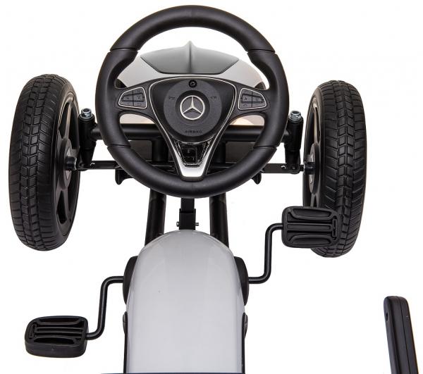Kart Mercedes cu pedale pentru copii, roti cauciuc Eva, alb [4]