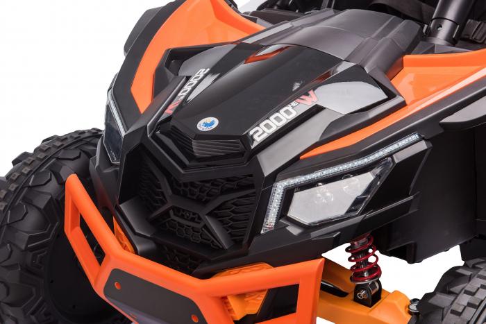 Masinuta electrica UTV Premier Dune, 24V, roti cauciuc EVA, 2 locuri, scaun piele ecologica, portocaliu [7]