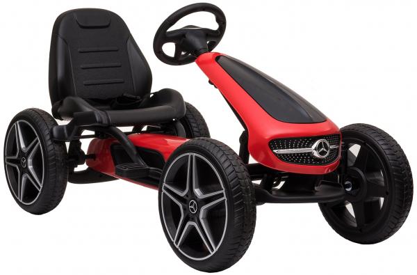 Kart Mercedes cu pedale pentru copii, roti cauciuc Eva, rosu [4]