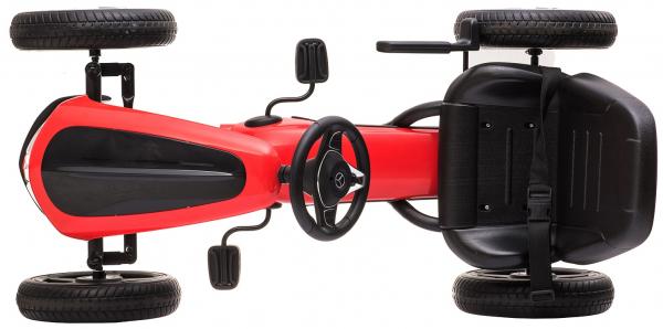 Kart Mercedes cu pedale pentru copii, roti cauciuc Eva, rosu [7]