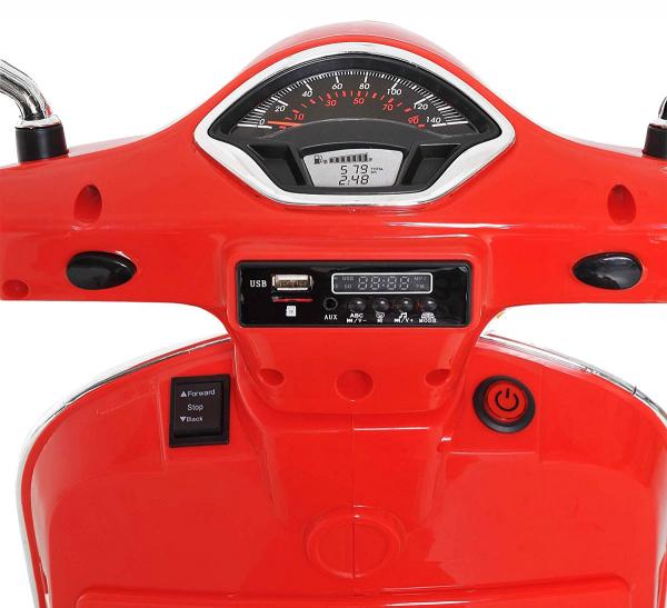 Scooter electric cu 2 roti Premier Vespa GTS Super, 12V, MP3, roti ajutatoare, rosu 8
