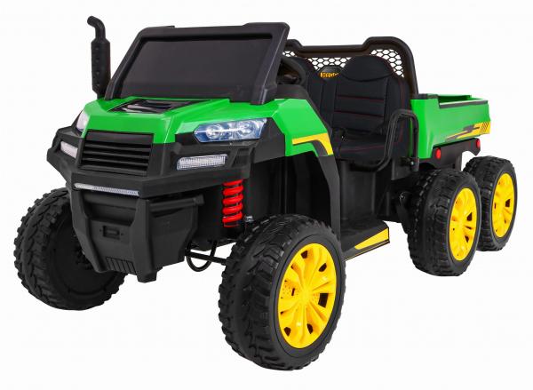 Buggy electric cu bena pentru 2 copii Premier 4x4 Hygge Truck, 6 roti cauciuc EVA, scaun piele ecologica, verde 0