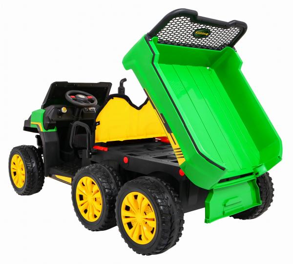 Buggy electric cu bena pentru 2 copii Premier 4x4 Hygge Truck, 6 roti cauciuc EVA, scaun piele ecologica, verde 5