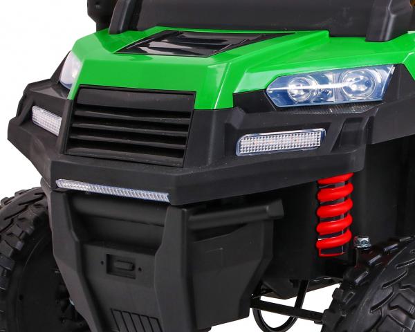 Buggy electric cu bena pentru 2 copii Premier 4x4 Hygge Truck, 6 roti cauciuc EVA, scaun piele ecologica, verde 4