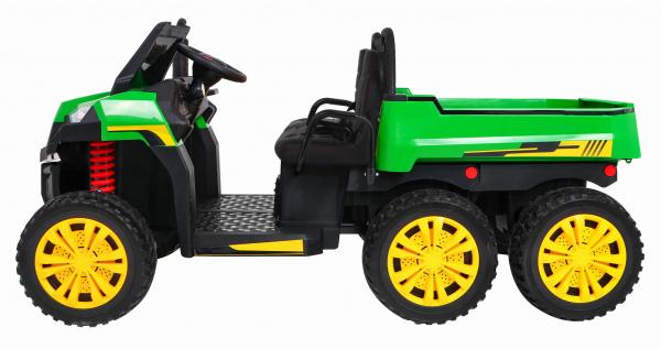 Buggy electric cu bena pentru 2 copii Premier 4x4 Hygge Truck, 6 roti cauciuc EVA, scaun piele ecologica, verde 6