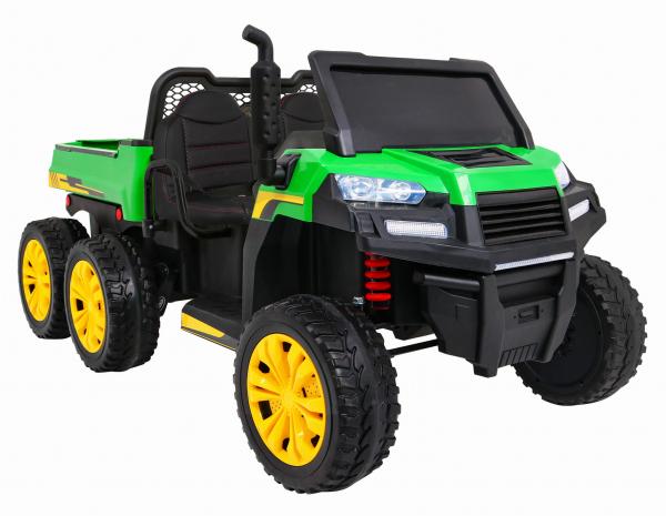 Buggy electric cu bena pentru 2 copii Premier 4x4 Hygge Truck, 6 roti cauciuc EVA, scaun piele ecologica, verde 1