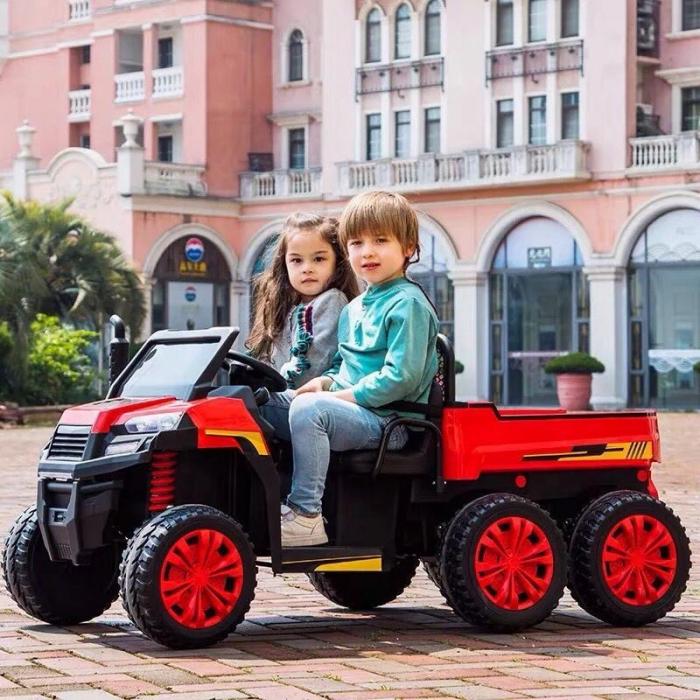 Buggy electric cu bena pentru 2 copii Premier 4x4 Hygge Truck, 6 roti cauciuc EVA, scaun piele ecologica, rosu 4