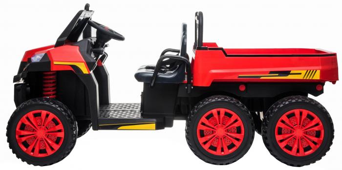 Buggy electric cu bena pentru 2 copii Premier 4x4 Hygge Truck, 6 roti cauciuc EVA, scaun piele ecologica, rosu 1