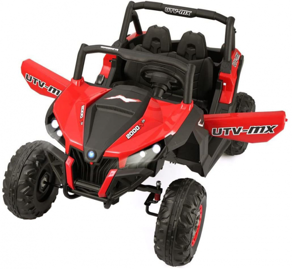 Buggy electric pentru 2 copii Premier 4x4 Superstar, cu 2 baterii, roti cauciuc EVA, scaun piele ecologica, rosu [4]