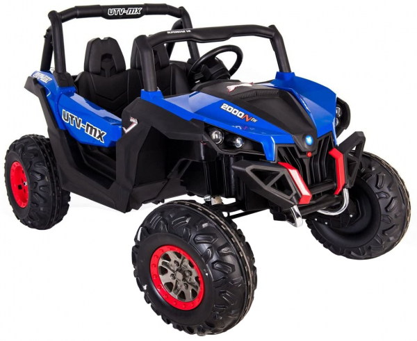 Buggy electric pentru 2 copii Premier 4x4 Superstar, cu 2 baterii, roti cauciuc EVA, scaun piele ecologica, albastru 3