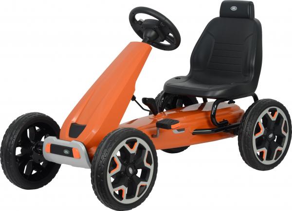 Kart Land Rover cu pedale pentru copii, roti cauciuc Eva, portocaliu 0